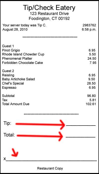 ricevuta carta di credito con mancia