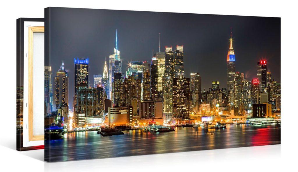 New york di notte quadro su tela newyorkesi for Foto new york notte