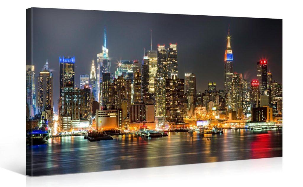 New york di notte quadro su tela newyorkesi for Tableau paris londres new york